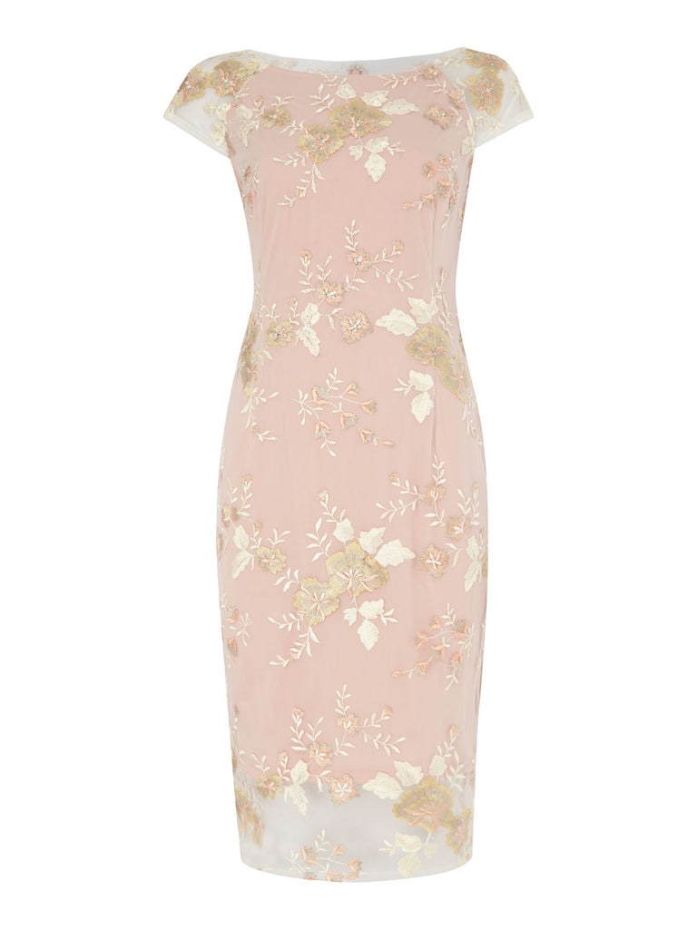 Adrianna Papell Mid length bodycon dress with cap sleeves- Light Pink