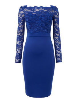 Jessica Wright Longsleeve Lace Bodycon Dress- Blue