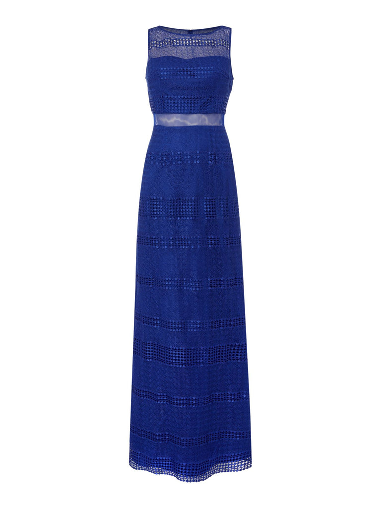 Adrianna Papell Sleeveless Lace Navy Gown- Blue