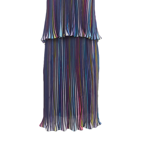 Little White Lies Thin Strap Overlay Pleated Mini Dress- Multi-Coloured