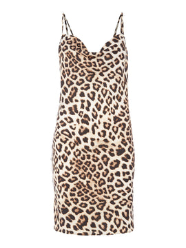 Bardot Sleeveless Leopard Print Dress- Multi-Coloured