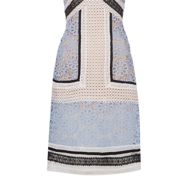 Endless Rose Sleeveless VNeck Embroidered Pannel Shift Dress- Pale Blue