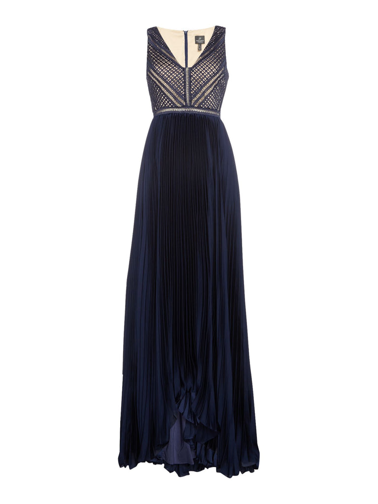 Adrianna Papell Pleated full length dress- Blue