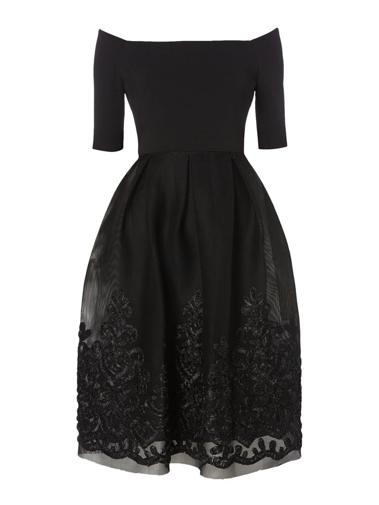 Eliza J Off Shoulder Dress With Floral Hem- Black