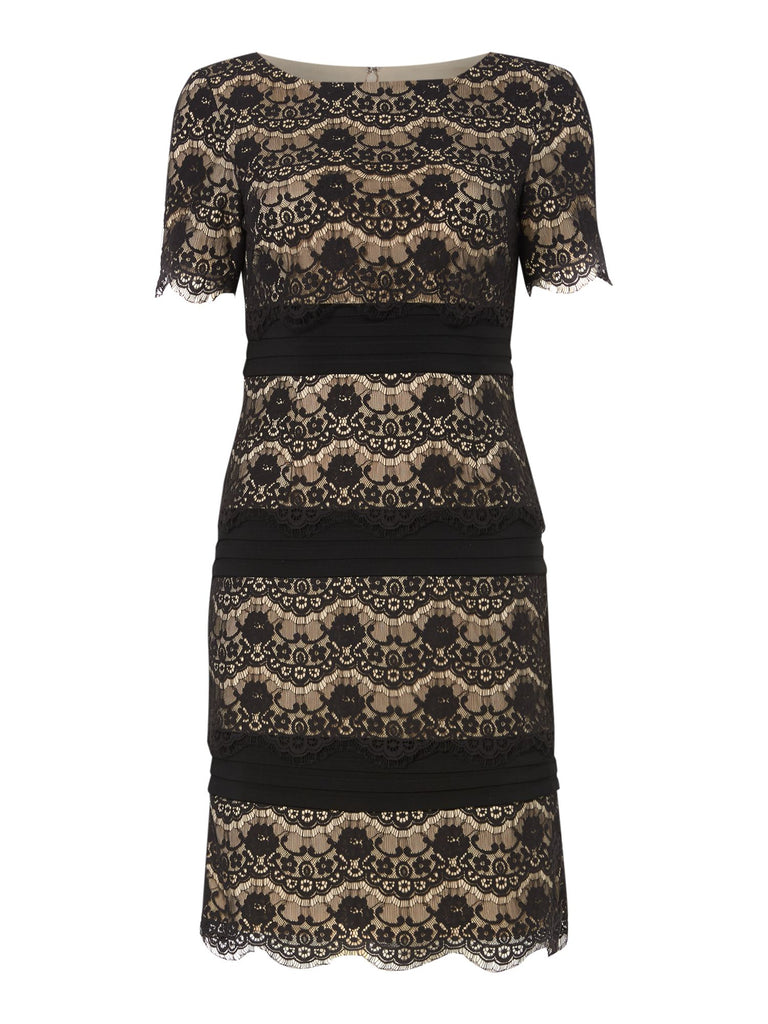 Eliza J Lace tiered shift dress with banding- Black