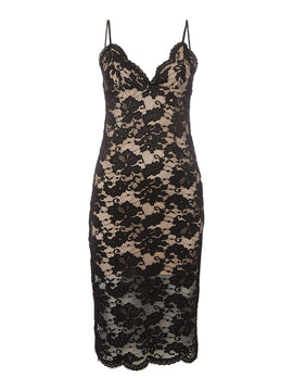 Bardot Strappy Contrast Lace Bodycon dress- Black