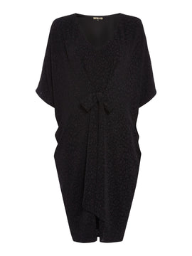 Biba Tie waist metallic dress- Black
