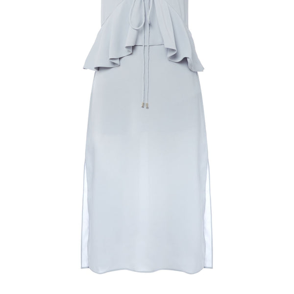 CMEO Sleeveless v neck midi dress- Light Blue
