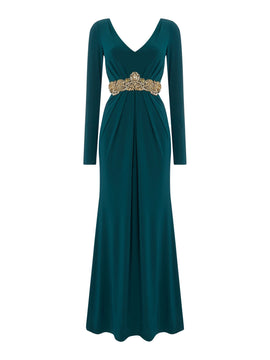 Eliza J Long sleeved jersey gown with gold waist detail- Green