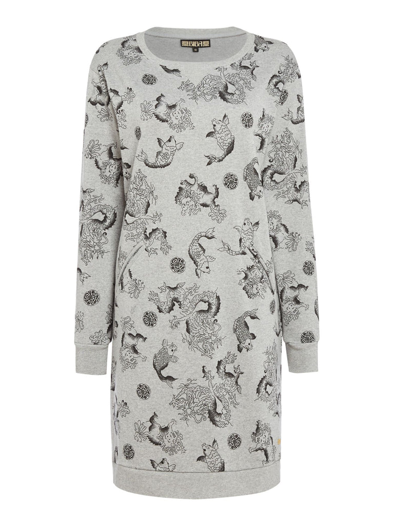 Biba Dragon print sweat dress- Grey