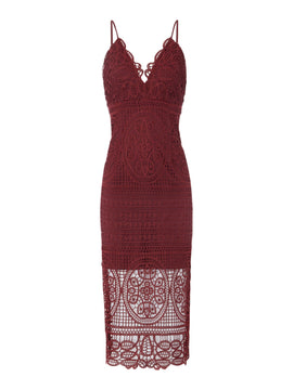 Bardot Thin strap v neck lace midi dress- Red