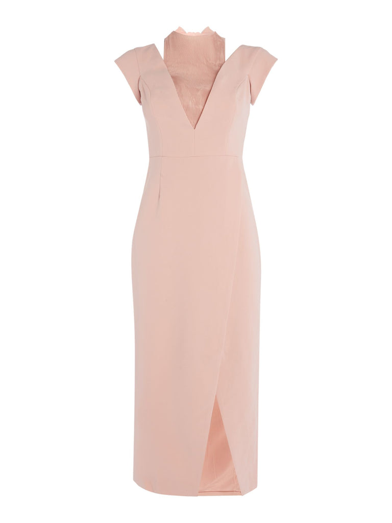 CMEO Cap sleeve pleated neck midi dress- Pink
