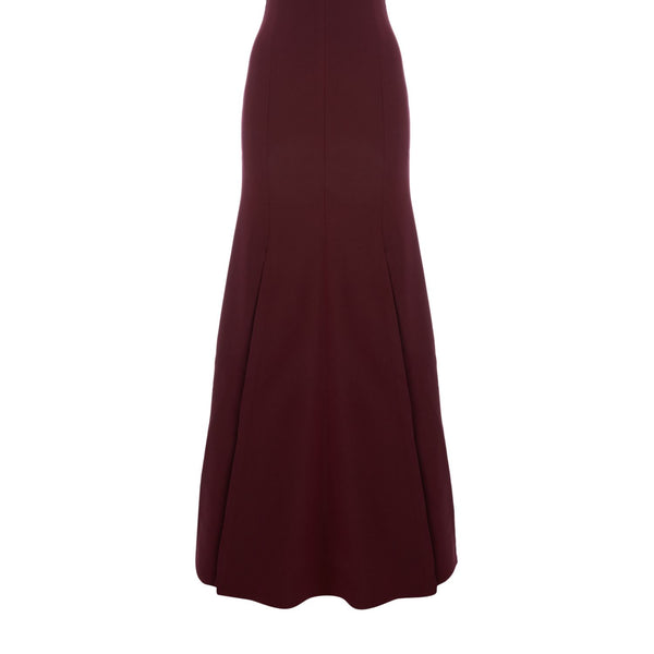 CMEO Pleated maxi dress with split- Red