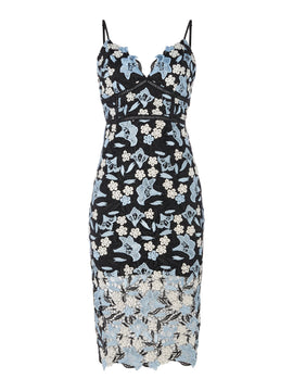 Bardot Strappy V Neck Printed Dress- Blue