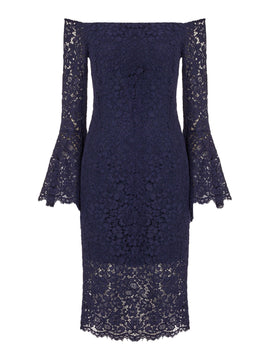 Bardot Plunge Lace Dress- French Blue