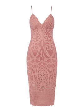 Bardot Strappy Lace V Neck Bodycon Dress- Mauve