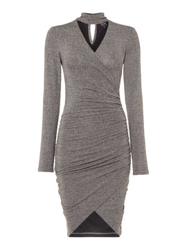 Bardot V neck draped wrap dress- Dark Grey