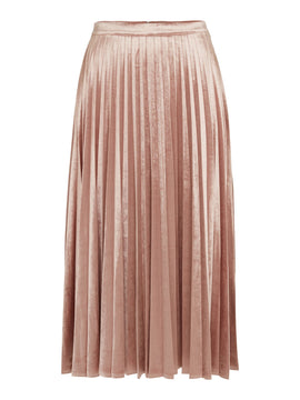 Bardot Velvet Pleated Skirt- Pink