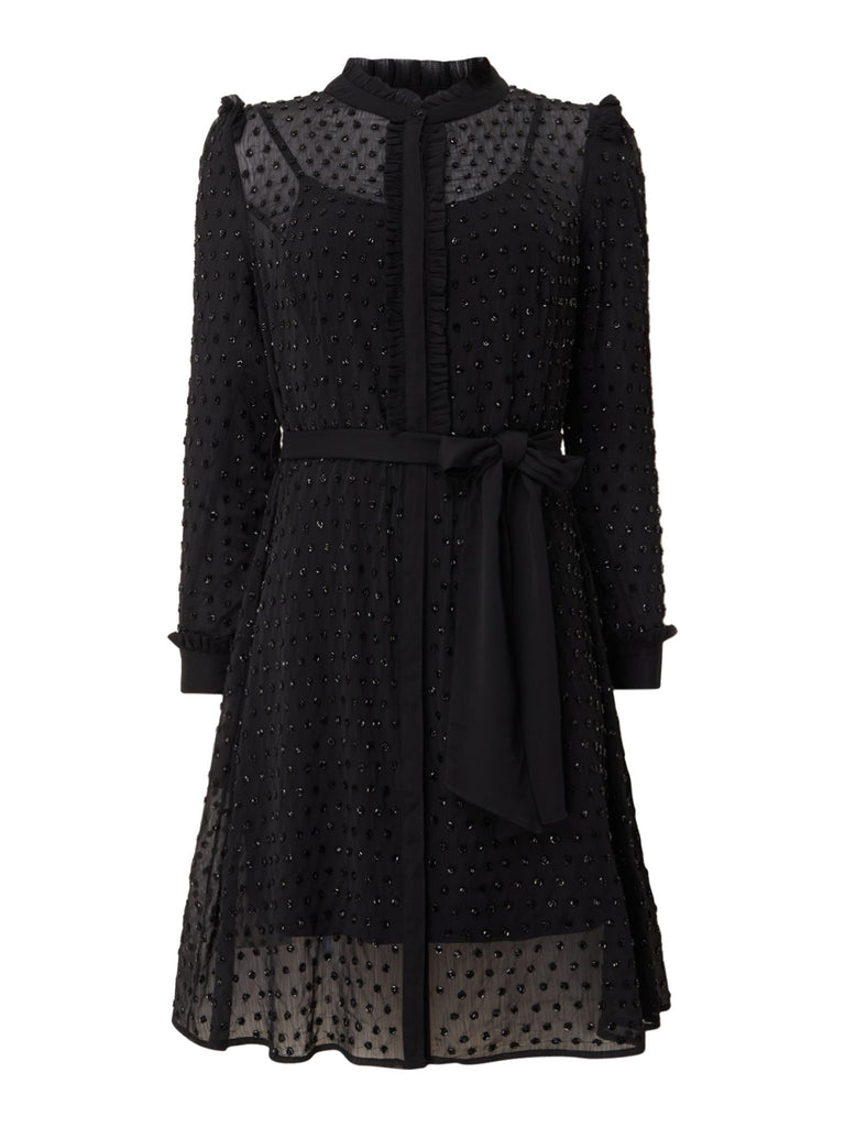 Biba Fully beaded tie waist shirt dress- Black