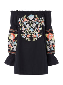 Free People Fleur De Jour Bardot Dress With Embroidery- Black