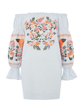 Free People Fleur De Jour Bardot Dress With Embroidery- Blue