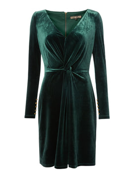 Biba Velvet long sleeve knot detail dress- Forest Green