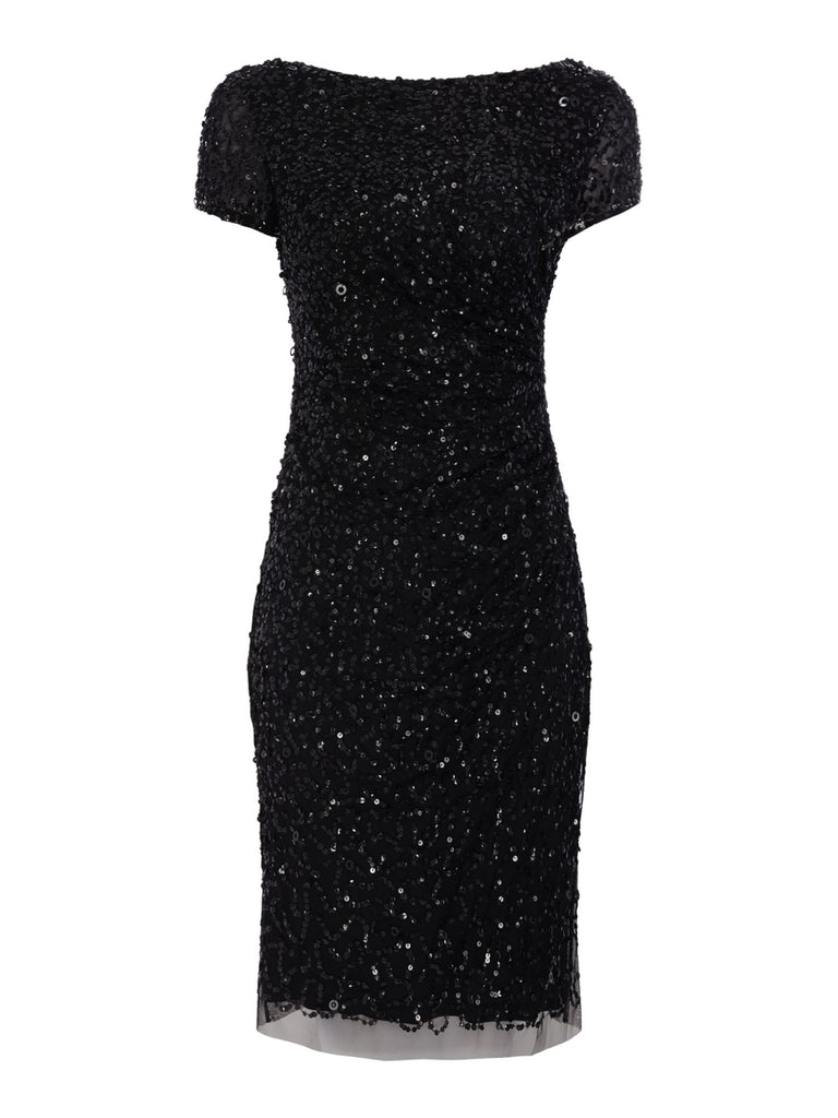 Adrianna Papell Cowl Neck Beaded Dress- Black