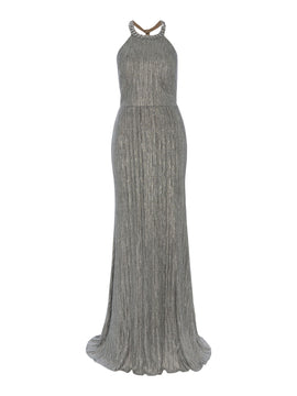 Adrianna Papell Backless Jewelled Metallic Long Gown- Silver