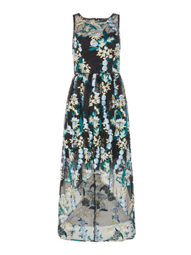 Adrianna Papell Embroidered hi low floral dress- Blue