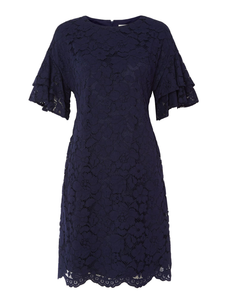 Eliza J Lace frill sleeve shift dress- Blue