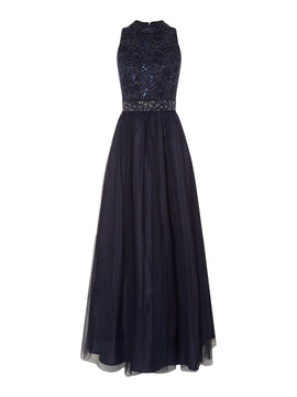 Eliza J Lace top embellished waist gown- Blue