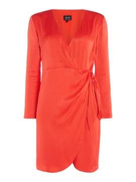 Bardot Wrap dress with tie on the side- Raspberry