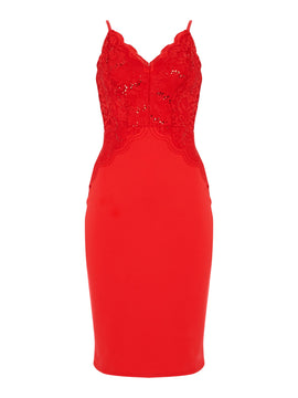 Jessica Wright Strappy Bodycon Dress- Red