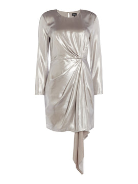 Bardot Shimmer long sleeve dress- Silver