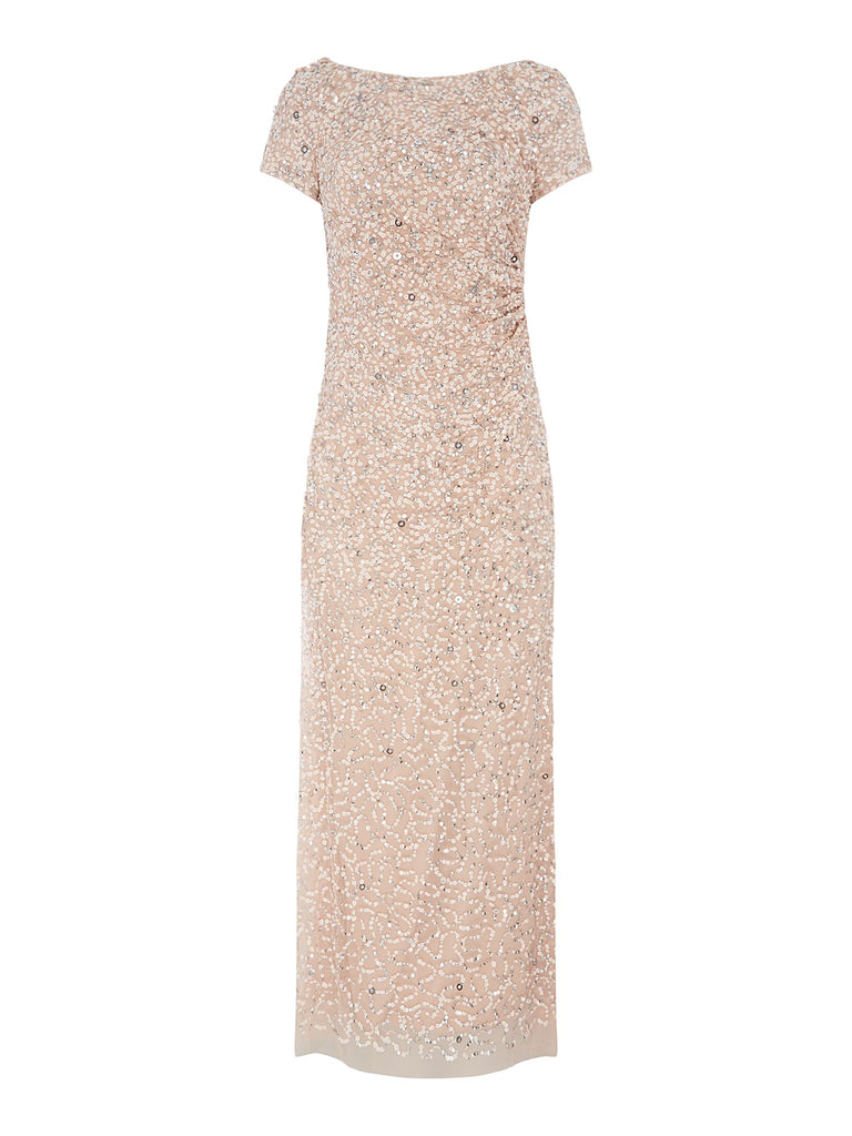 Adrianna Papell Cap sleeve beaded cowl back gown- Pink