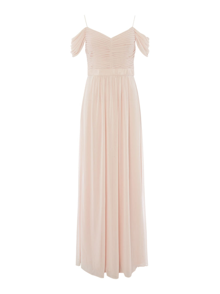 Adrianna Papell Strappy off shoulder drape gown- Pink