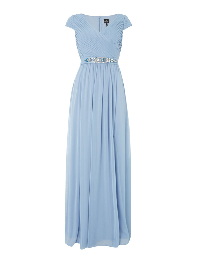 Adrianna Papell V neck cap sleeve gown with embellished waist- Grey