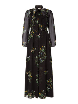 Max Mara Studio Palude floral maxi dress with neck tie- Black