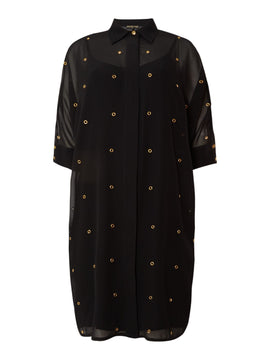 Biba Eyelet detail shirt dress- Black