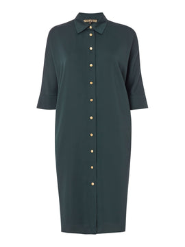 Biba Volume tie neck dress- Green