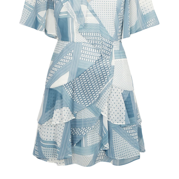 CMEO Printed ruffle mini dress- Blue