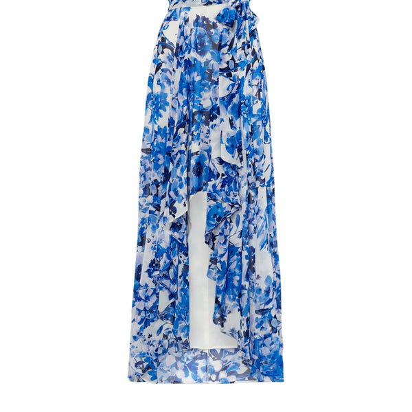 Eliza J V neck printed maxi dress- Blue