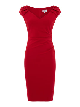 Jessica Wright V neck bodycon dress- Berry