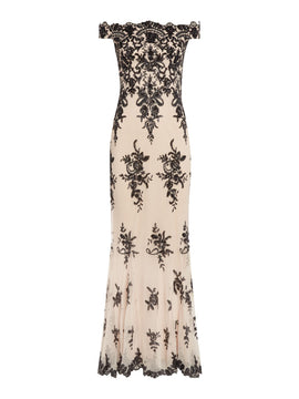 Jessica Wright Off Shoulder Lace Detail Gown- Nude