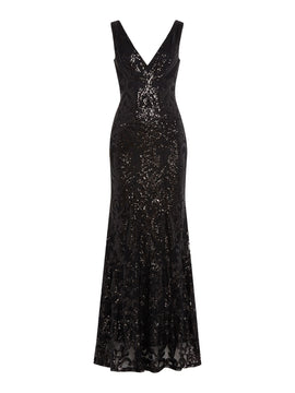 Jessica Wright V neck sequin maxi dress- Black