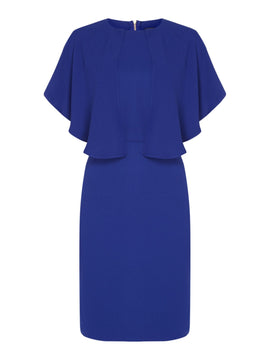 Biba Zip back cape overlay dress- Blue