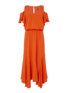 Biba Cold shoulder ruffle midi dress- Orange