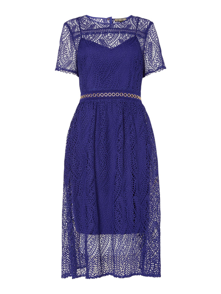 Biba Lace eyeles detail midi dress- Cobalt