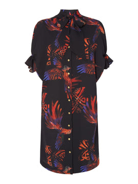 Biba Hummingbird shirt dress- Multi-Coloured