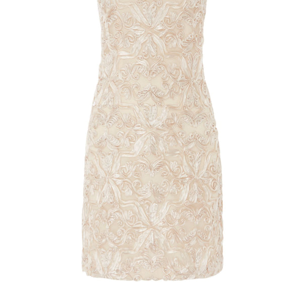 Eliza J Sleeveless shift lace dress- Champagne